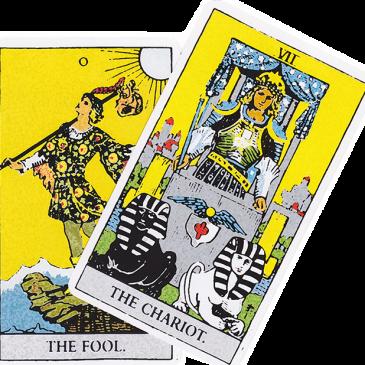 El Tarot de Zitmy- La Carroza y el Loco o el Bufón